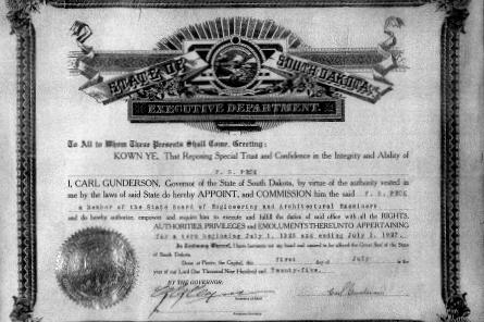 South Dakota board appointment certificate