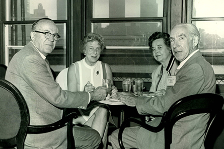 Nebraska Delegate Wilfred G. Hill (far right) networks at the 1970 Annual Meeting in Boston.