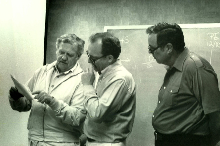 Past presidents Charles Blondheim (left), Robert Oringdulph (center), and Sid Frier (right).