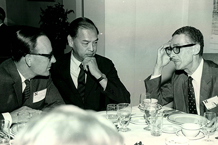 Board of Directors Member Worley Wong (center) at the 1969 Annual Meeting.