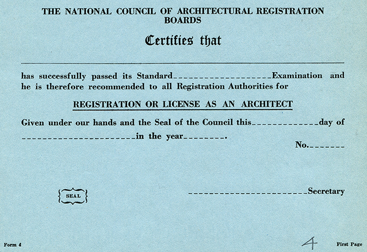 NCARB Certificate circa 1937