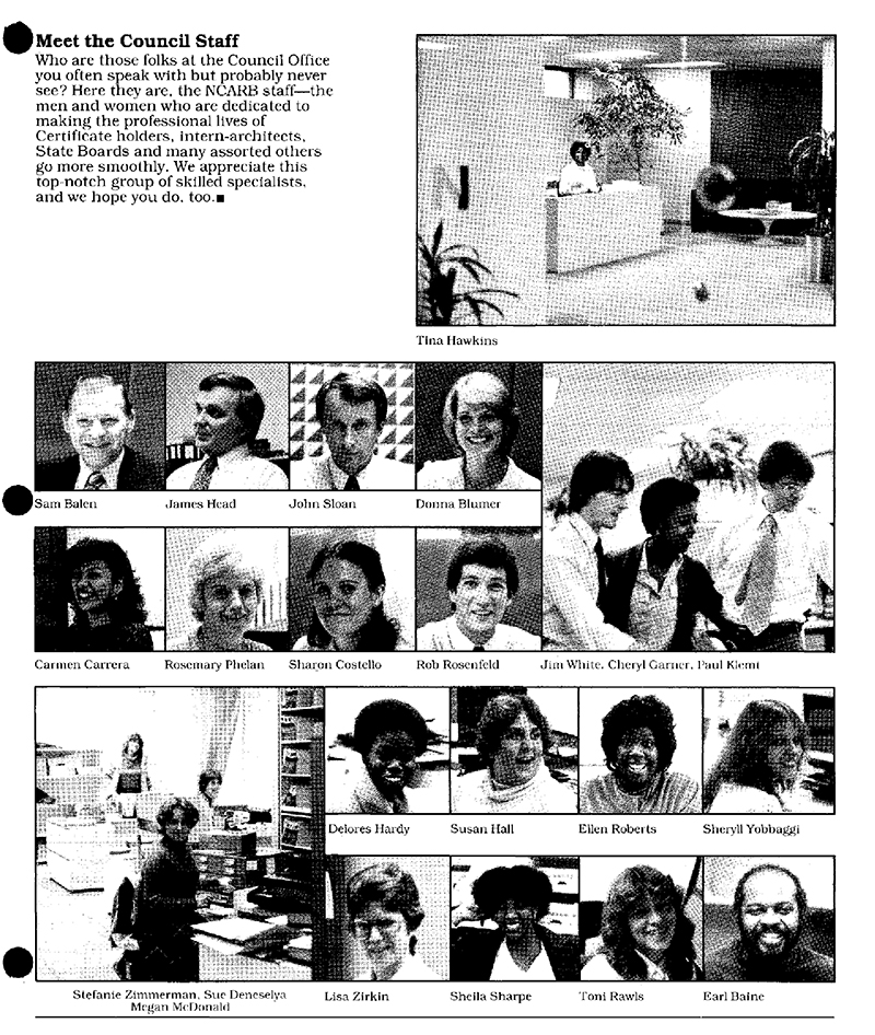 NCARB Certifier featuring NCARB staff in 1981.