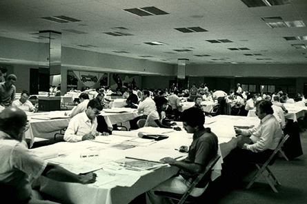 Volunteers on the ARE Grading Committee in the 1980s.