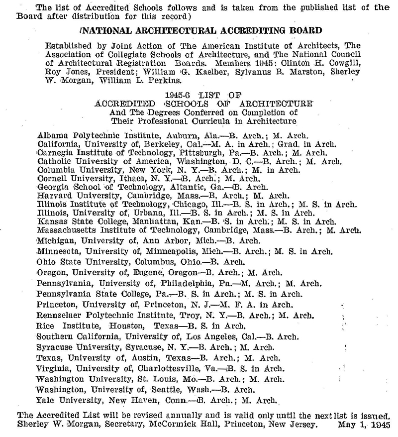 The NAAB's first list of accredited schools was released in 1945.