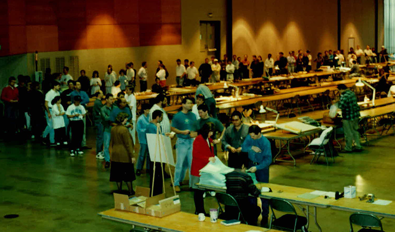 Candidates line up to take the last paper-and-pencil ARE in 1996.
