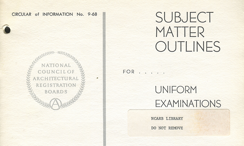 The Subject Matter Outlines for the Uniform Examinations in 1968.