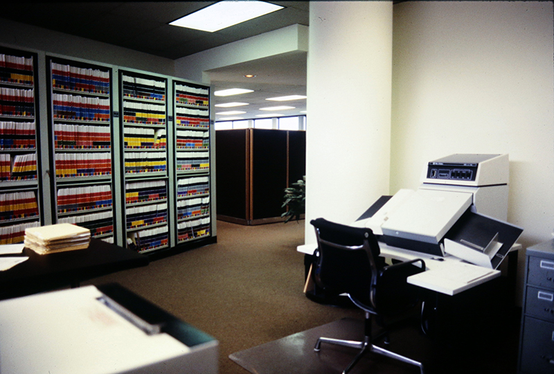 A wall of customer Records at NCARB's office in the 1980s.