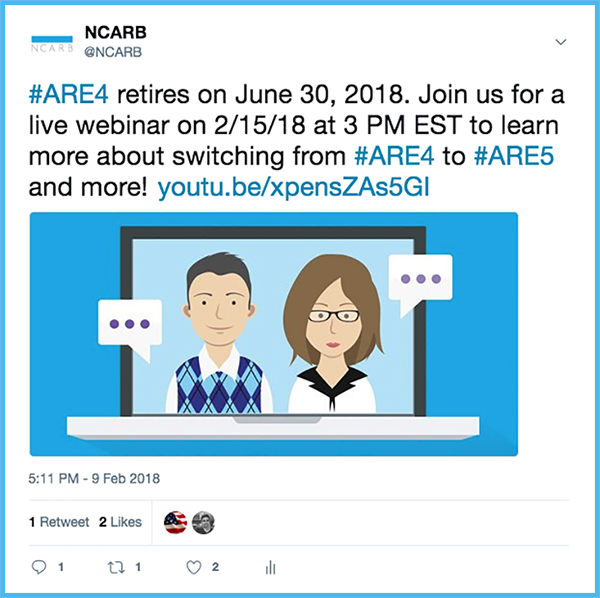On social media, NCARB can answer questions, sponsor contests and giveaways, and share important news with customers.